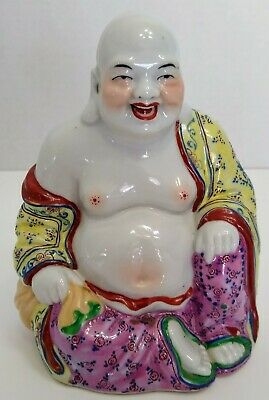 Vintage Chinese Signed Porcelain Laughing Buddha Feng Shui Figure Statue 5.5""