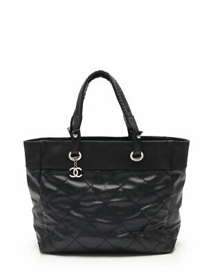 CHANEL Paris biarritzMM tote bag coated canvas nylon leather black