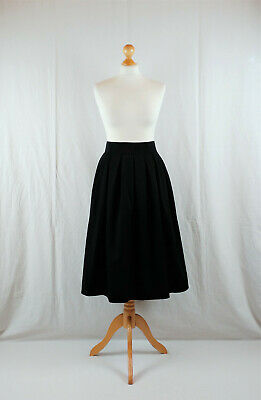 Vintage Black 1970s High Waist Midi Length Circle Skirt