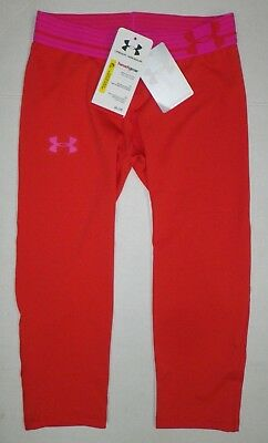NEW UNDER ARMOUR Girls Athletic Cropped Leggings Heatgear Pom Pink Youth Kids M