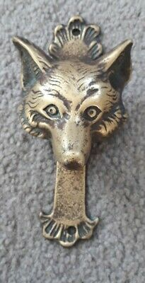 Antique Victorian Solid Brass Fox Head Door Knocker