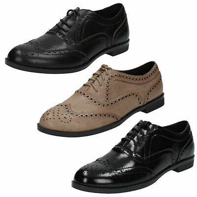 Ladies Spot On F8R0107 Black Taupe Lace Up Casual Formal Flat Smart Brogue Shoes