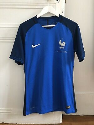 MAILLOT HOME ÉQUIPE DE FRANCE 2016 FFF STOCK PRO taille L PATCH FRANCE ROUMANIE