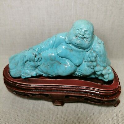 Vintage Chinese Buddha, made of turquoise. 20th century.