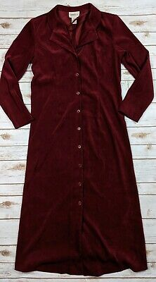 Vtg Tribeca Studio Dress Maroon Long Sleeve Stretch Button Front Womens Size 10