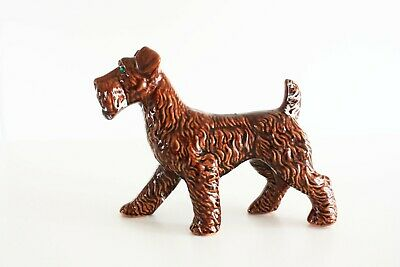 Large Airedale Terrier Dog Figurine With Green Rhinestone Eyes Red Clay