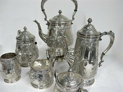Antique Sterling Silver Hand Chased 6 Pieces Tea Set. 6,200 Grams.