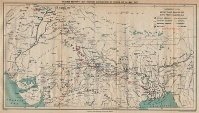 INDIAN MUTINY/REBELLION. British & native troop positions 1 May 1857 1929 map