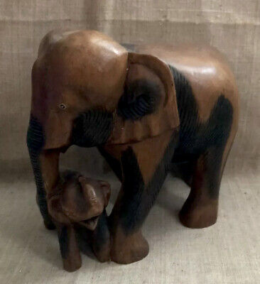 Hand Carved Solid Wood Large Mother Elephant with Baby Figurine DetailedVintage