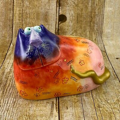 Rainbow Cat Coin Piggy Bank Hand Painted Purple MultiColor Gold Accents