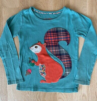 Mini Boden Girls Blue Applique Long Sleeve Top Size 4-5 Squirrel Nuts