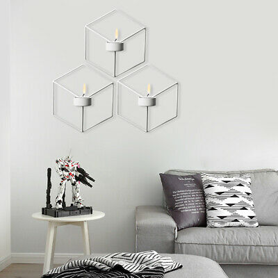 3PCS Wall Candle Holder Decor 3D Geometric Candlestick Metal Sconce Nordic Style