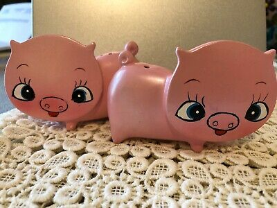 Vintage Retro Rare Small Flat Face Pig Salt And Pepper Shakers