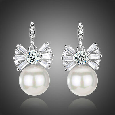 Sparkly Shiny Cubic Zircon Pearl White Gold Plated Flower Bridal Earring Jewelry