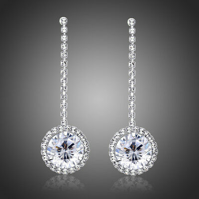 Sparkly Shiny Cubic Zircon White Gold Plated Elegant Bridal Earrings Jewellery