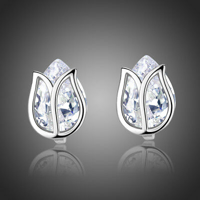 White Gold Plated Sparkly Shiny Clear Zircon Lotus Flower Stud Bridal Earrings