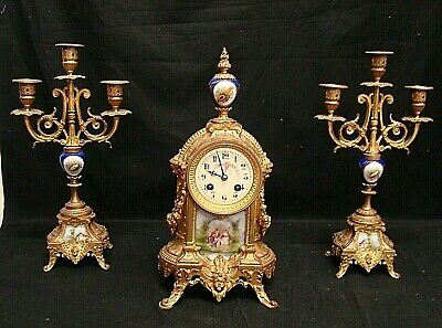 Antique Triptych Watch a Pendulum + Candlesticks with Porcelain Painted