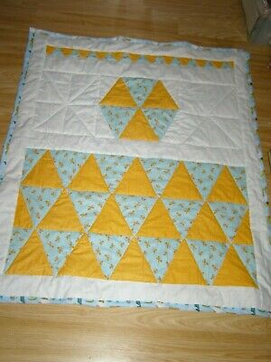Handmade Quilted Patchwork Toddler Or Baby Quilt Cot  Orange Butterflies