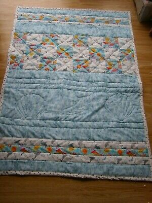 Handmade Quilted Patchwork Toddler Or Baby Quilt Cot  Sea Life Turtles Dolphins