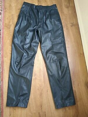 "Bermans Men's Black Leather Motorcycle/Club Pants Size 34. Inseam 30"". EUC"
