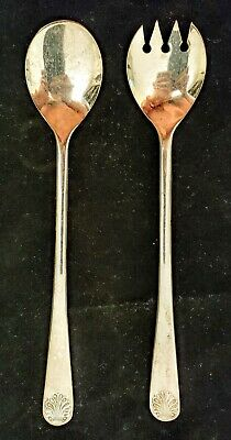 Vtg Silver Plated Salad Serving Fork Spoon W A Italy Dining Kitchen Utensil