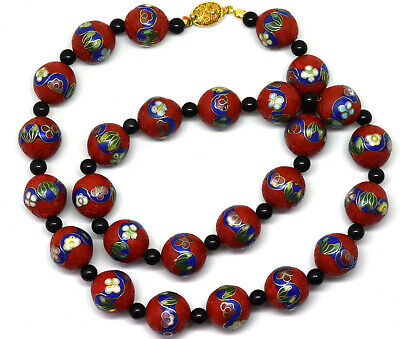"""Vintage Chinese Cinnabar and Cloisonne With Small Onyx Beads Necklace 22"""" Long"""