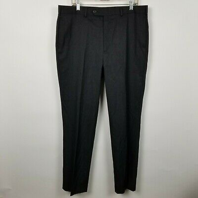 Brooks Brothers Madison Mens Flat Front Dark Charcoal Gray Dress Pants Sz 38x32