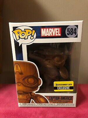 "Funko Pop Entertainment Earth Exclusive : Wood Deco Captain America #584 ""MINT"""