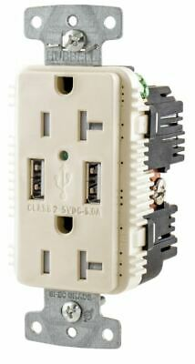 HUBBELL WIRING DEVICE-KELLEMS USB Charger Receptacle,2 Port 2 Poles Light Almond
