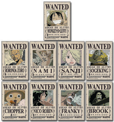 One Piece Straw Hat Crew Wanted Poster Stickers Anime Licensed NEW