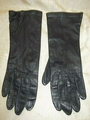 Vintage Lord Taylor Ladies Brown Leather Gloves size 6 1/2 Soft Pull on