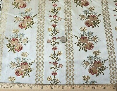 "Antique French 19thC Silk Floral Brocade Fabric Panel c1870~L-54""X W-21"""