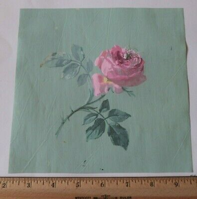 """Antique c1870 French Pink Rose Hand Painted Gouache On Paper~L-8""""X W-7.5"""""""