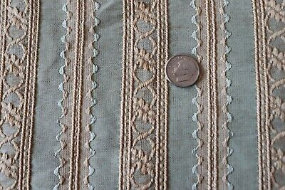 French Antique Green Small Scale Early Rayon/Cotton Jacquard Fabric Yardage