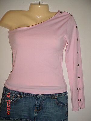 Hot Sexy-Ladies Womens-2 Trendy-CLUB Dancer Pink  Stretch one sleeve TOP SHIRT-M