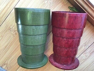 2x Vintage BAKELITE COLLAPSABLE FOLDING DRINKING TRAVEL CUPS