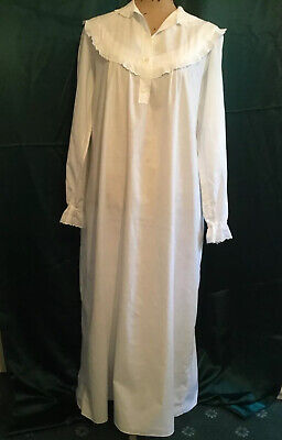 FRENCH Vintage Victorian COTTON NIGHTIE Broderie Anglais NIGHTGOWN Nightdress L