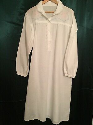 French VINTAGE COTTON Nightie, NIGHTGOWN Lace Trim Embroidered Bodice. Size L XL