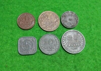 6 x Netherlands wartime coins 1916 & 1940s zinc & bronze currency
