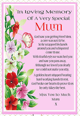 Mum In Memory Memorial Bereavement Rememberance Graveside Keepsake Card &Holder