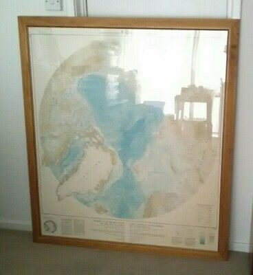 Large Framed General Bathymetric Chart of the Oceans Oceanography