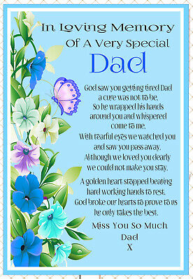 Dad Graveside Memorial In Memory Rememberance Bereavement Keepsake Card &Holder