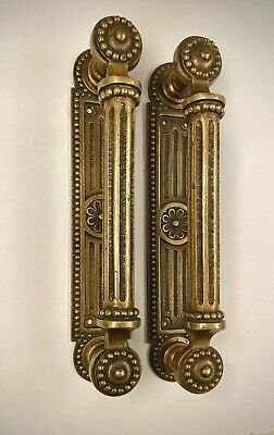 Set of Two Vintage Large Brass Door Pull Handles
