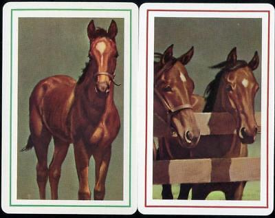 Horse Swap/Playing Cards X2 Country Scene Brown Horses Vintage (Mint)