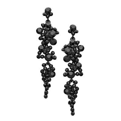 Black diamante earrings sparkly bling prom party long rhinestone dangly 0420