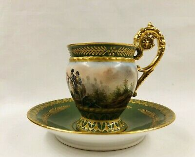 """Antique French 19th Century Sevres Napoleon """"Austerlitzi"""" Battle Cup and Saucer"""
