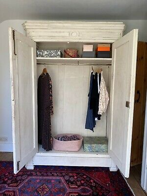 Antique wardrobe Double door Painted solid wood. Full width Shelf, Rail + Drawer