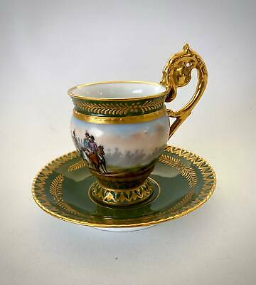 """Antique French 19th Century Sevres Napoleon """"Jemmapes"""" Battle Cup and Saucer"""
