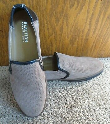 Reaction Kenneth Cole Mens Leather Center Slip On Size 8.5M Brown