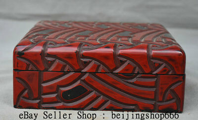 """6.8"""" Marked Old Chinese Qing Red lacquerware Dynasty Palace Square Jewelry box"""
